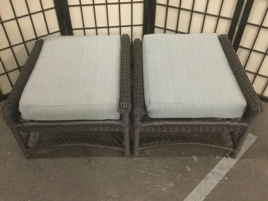 Pair of matching woven foot stools with cushion