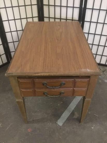 Vintage wooden end table with one drawer