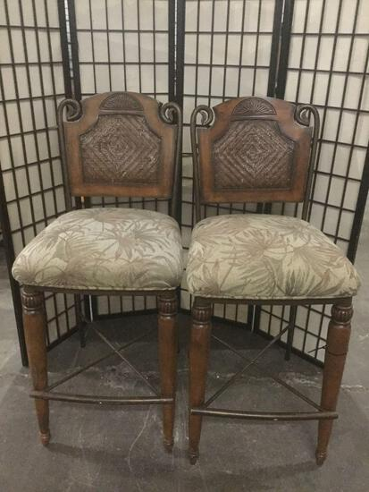 Pair of high back fancy stool chairs w/ cushioned seats
