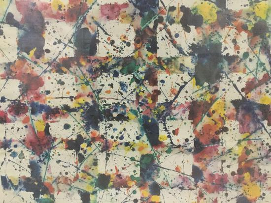 "Sam Francis 1977-1978 Louisiana ""Work in Progress"" abstract splatter art print in frame - as is fair"
