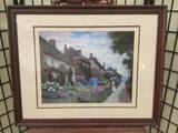 Nicely framed print - The Conversation by Thelma Leaney Butler Approx. 31x25 inches.