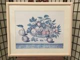 framed 19th Century Fruit Bowl print by Jakob Schalter approx. 34x28 inches
