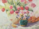 Framed Floral Scene print by Gloria Eriksen approx. 30x24 inches