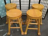 4 pc. lot oak oversized claw foot stools