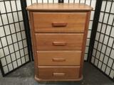 Vintage oak 4 drawer wooden tallboy dresser