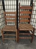 Set of 2 antique ladderback Americana chairs w/ waxed cedar(?) bark / wood strip seats