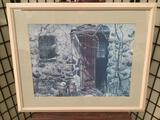 framed print by artist Carolyn Blish of rustic cottage doorway w/ milk cannisters, Approx. 32x26 in.