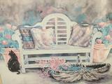 Framed watercolor art print - Garden Bench by artist Helen Paul, Approx. 38x30 inches