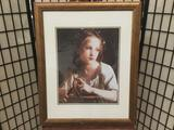Framed portrait oil painting print of girl with basket by unidentified artist approx. 32x26 inches