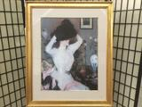 Framed lithograph art print of woman - The Black Hat by Frank W. Benson, approx. 36x30 inches. Nice!