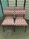 Lot of 4 vintage wood chairs with matching upholstery