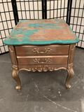 Vintage wooden end table, partially repainted, sold as is