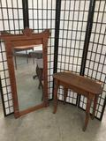 Antique oak dressing table w/ tall mirror (needs reattached)