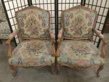 Pair of antique Louis XIV style armchairs w/matching needlepoint upholstery - superb condition