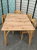 Laminate top bamboo table with 4 chairs. Table approx 49x37x29 inches.