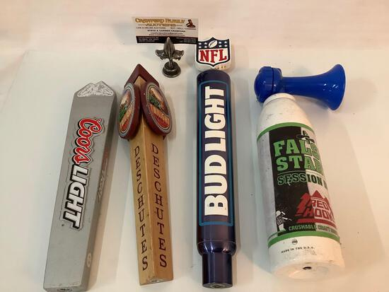 4 collectible beer tap pulls in used condition, incl.; Coors Light, Red Hook, Bud Light and more.
