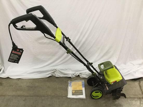 Sunjoe Electric Tiller and Cultivator lawn/yard tool. Tested and working. Approx 40x40x18 inches.