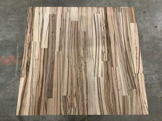 Zebra wood piece, cutting board/ unfinished table top(?) , approx 24 x 24 x 2 inches.