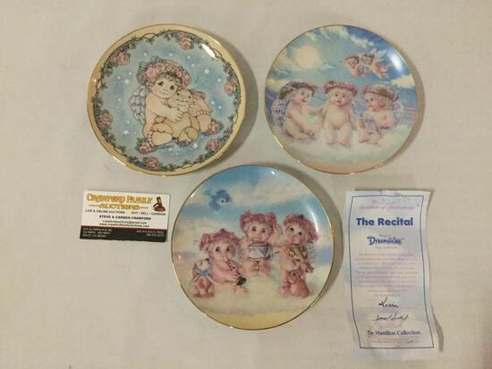 3 Hamilton Collection Dreamsicles collectors plates w/ cherubs & 1 COA.