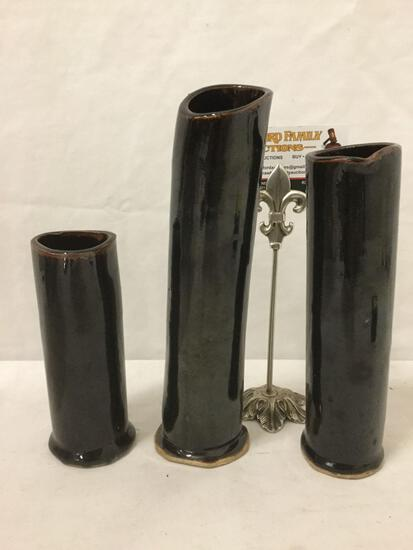 Lot of three custom made ceramic flower vases, signed by artist
