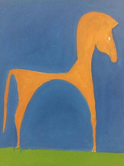Folk art trojan horse painting on canvas