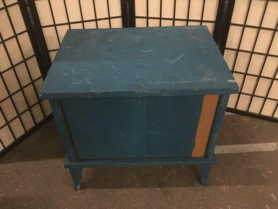 Vintage night stand. painted blue. Sold as is.