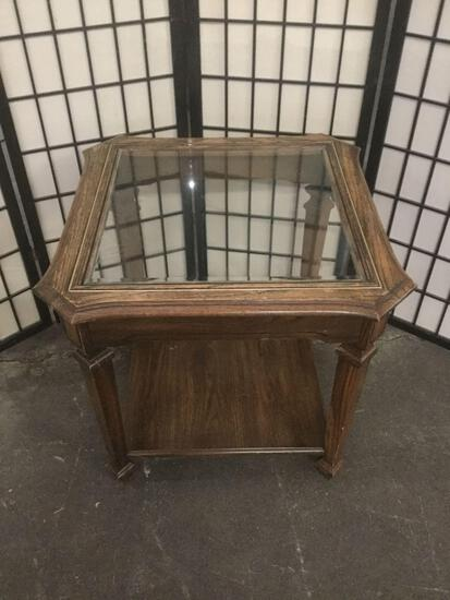 Vintage glass top end table. Approx 24x24x22 inches.