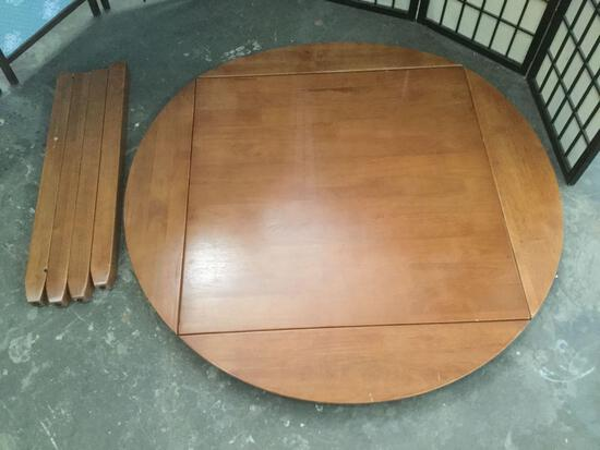 Modern wooden drop leaf table with no hardware