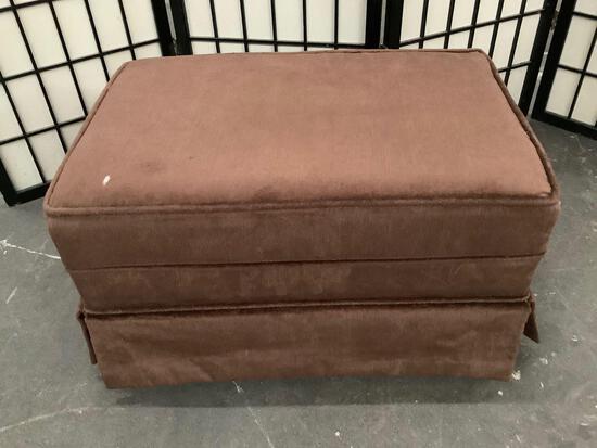 Vintage SEARS ROEBUCK & Co. brown upholstered ottoman
