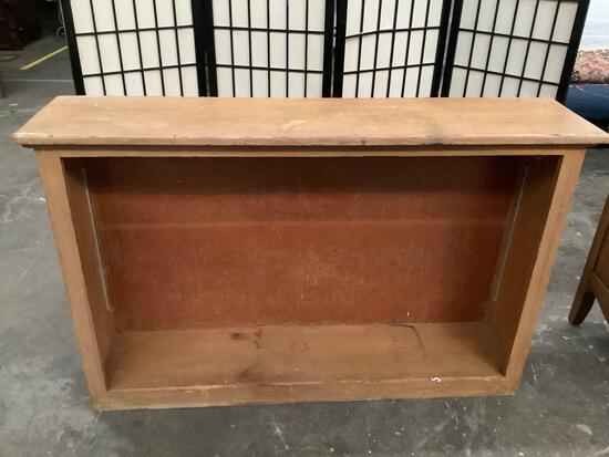 Vintage wood book case, missing shelves, sold as is