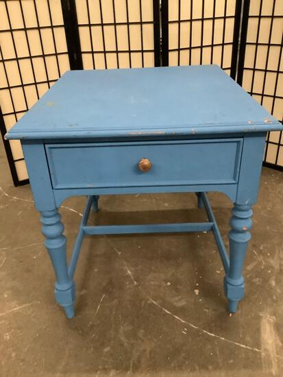 Thomasville wooden end table, painted blue