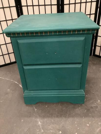 Vintage wood two drawer nightstand, painted green, sold as is