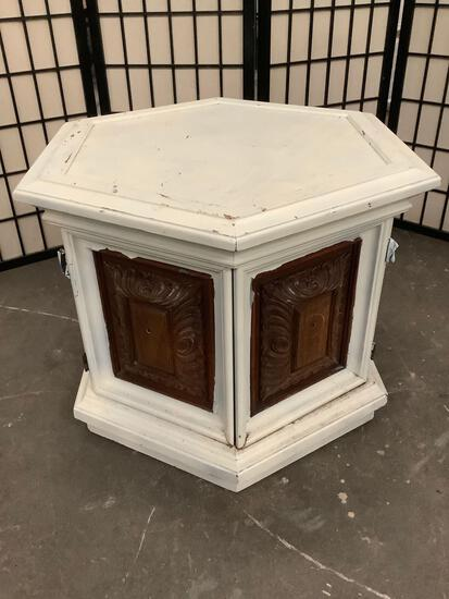 Vintage wood hexagonal side table, painted white, sold as is