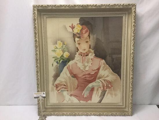 Large elegantly framed caricature portrait print of lady signed by artist Guild, approx. 35x30x3 in.