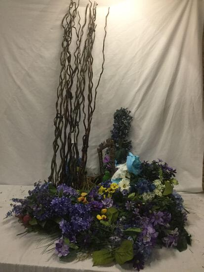 Lot of faux flowers, twig arrangements, basket, & bird sculpture