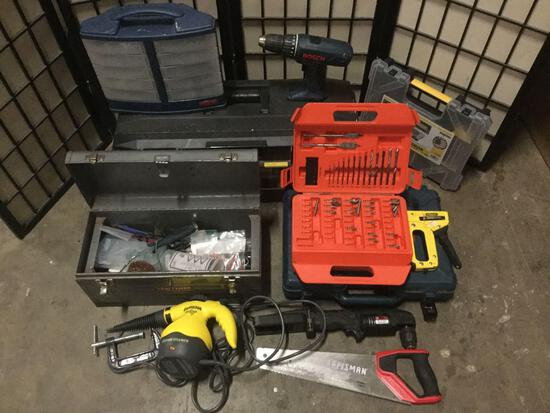 Lot of tool boxes, power tools, and hand tools, Sold as is.