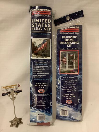 Lot of 2 ; Valley Forge - United States Flag set & Patriotic Home Decorating kit