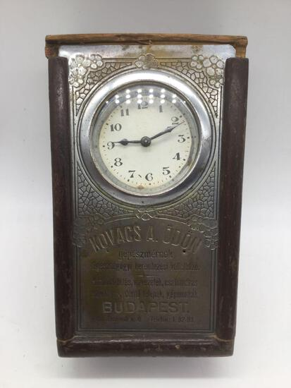 Hungarian commemorative antique clock for Kovacs A Odon. Sold as is.