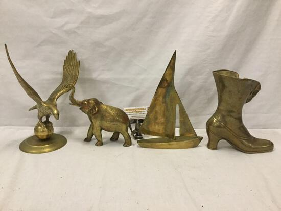 4 brass sculpture art /decor pieces