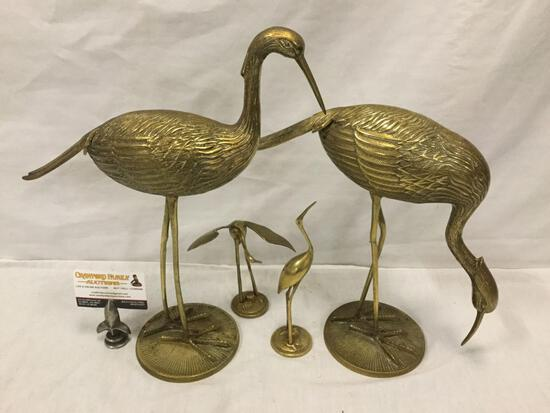 4 brass crane sculpture art/decor pieces