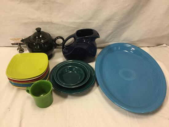 14 pcs. of Homer Laughlin - Fiesta Ware ceramic home decor