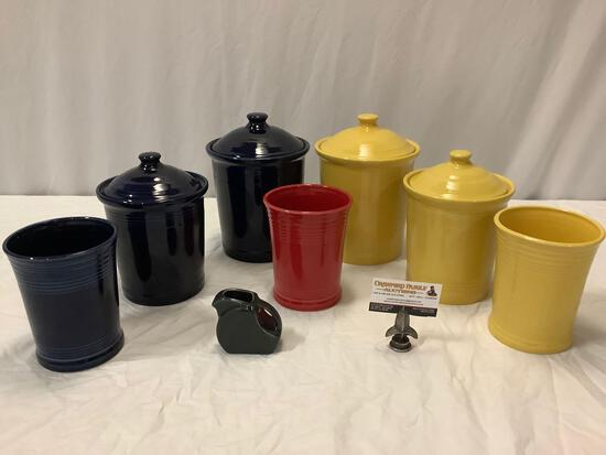 8 pc. lot of Homer Laughlin - Fiestaware ceramic kitchen containers & mini disk pitcher