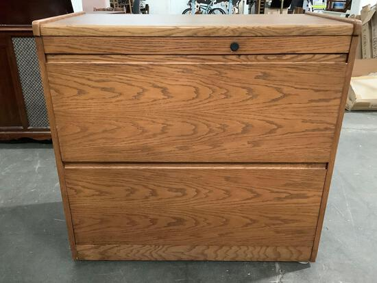 Modern wood 2-drawer file cabinet, approximately 38 x 20 x 36 inches