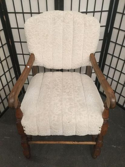 Vintage wood arm chair w/ upholstered seat & back, nice used condition