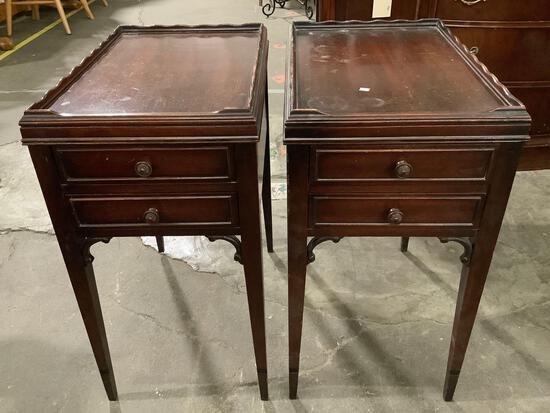 Pair of vintage wood end tables/ nightstands w/ 2 drawers