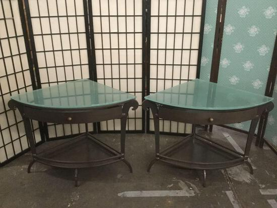 Pair of glass top 1-drawer metal corner end tables approx. 24x24x24 inches each
