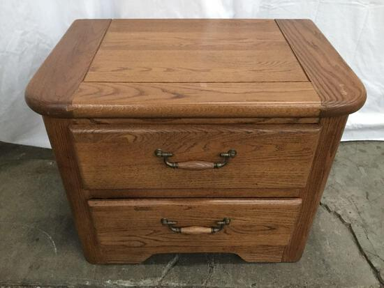 Two drawer wooden end table