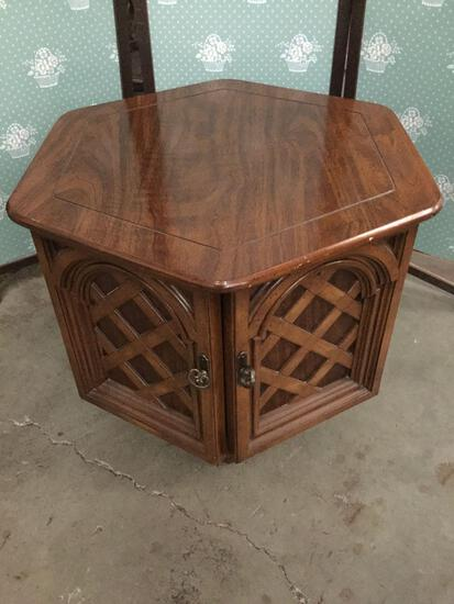 Hexagonal vintage end table cabinet