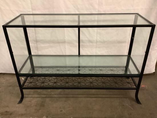 Metal frame open glass display case w/ floral design,