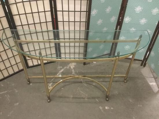 Vintage glass top gold tone metal hall table